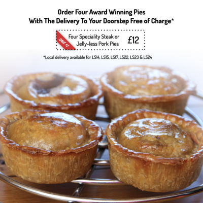 Four Speciality Steak or Jelly-less Pork Pies - Unbaked Frozen (Local only)