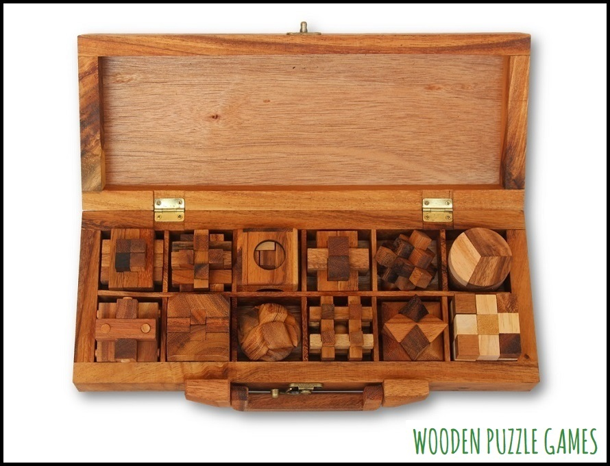 Case with 12 Puzzles, Wooden Box with Brass Lock and Handle for Puzzle Enthusiasts