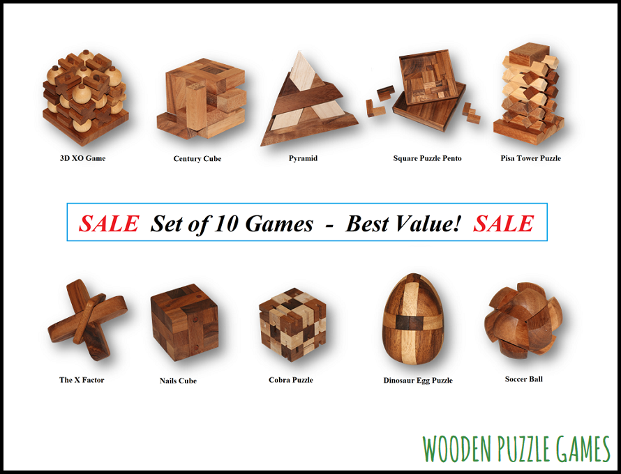 Special Set with 10 Wooden Puzzles