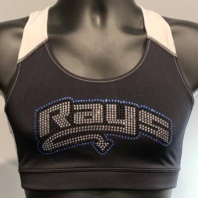 Rays Rhinestone Black Sports Bra