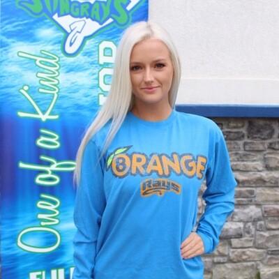 Orange Distressed LS T-shirt Blue
