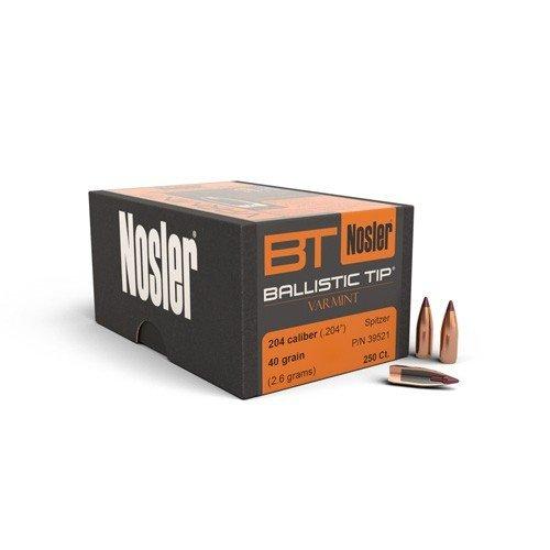 "Nosler Ballistic Tip Varmint Bullets .204 cal .204"" 40 gr-  250/ct"