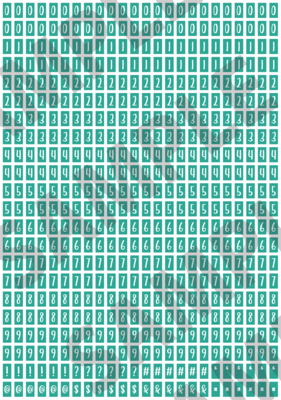 White Text Turquoise 2 - 'Feeling Good' Tiny Numbers
