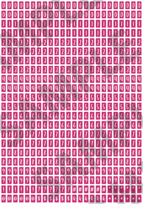 White Text Pink 2 - 'Feeling Good' Tiny Numbers