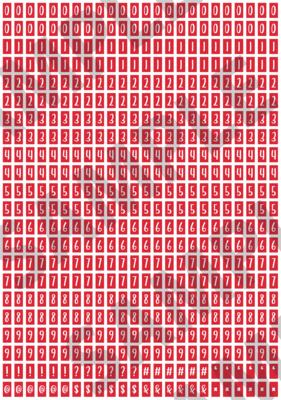 White Text Red 1 - 'Feeling Good' Tiny Numbers