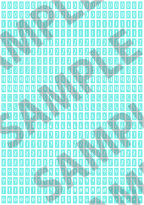 White Text Turquoise 1 - 'Feeling Good' Tiny Numbers