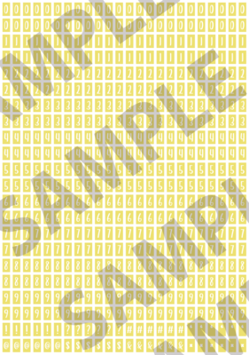 White Text Yellow 1 - 'Feeling Good' Tiny Numbers