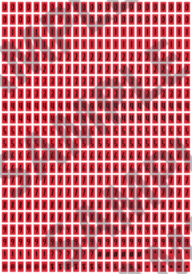 Black Text Red 1 - 'Feeling Good' Tiny Numbers
