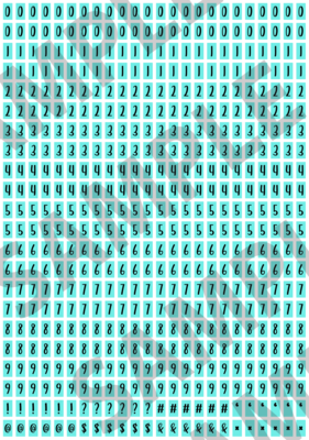Black Text Turquoise 1 - 'Feeling Good' Tiny Numbers