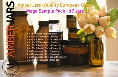 Amber Jars Mega Sample Pack - Quality European Food Grade Glass