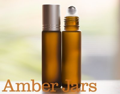 10ml Frosted Amber glass Roller ball Bottle Stainless Steel ball- Aromatherapy / perfume S