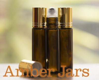 10ml Amber glass Roller ball Bottle Stainless Steel ball- Aromatherapy / perfume G