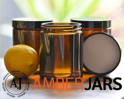 42 x 175ml Glass Amber Jars - Candle Spice Coffee Skincare