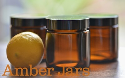 120ml Glass Amber Jars with Black Wadded Lid. DIY Cosmetics Candles Spice