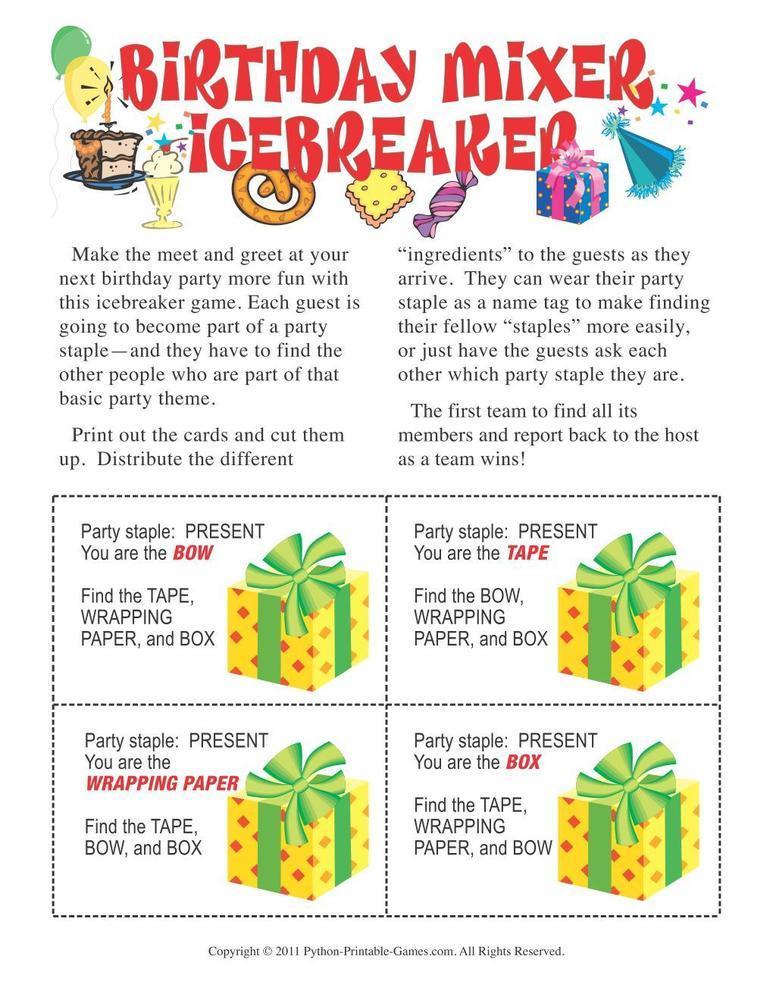Birthday Party: Birthday Mixer Icebreaker