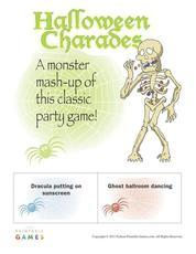 Monster mashup halloween charades party game printable