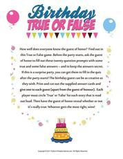 Print games now birthday true or false game