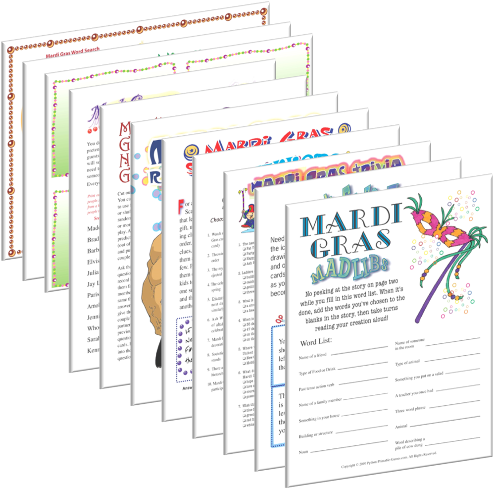 Mardi Gras party entertainment printable games from Print Games Now