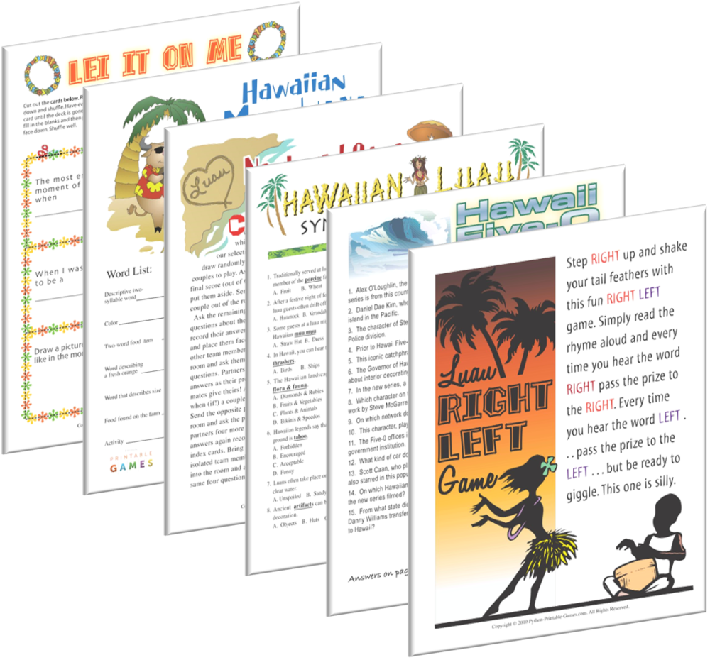 Luau games to print and play all year long