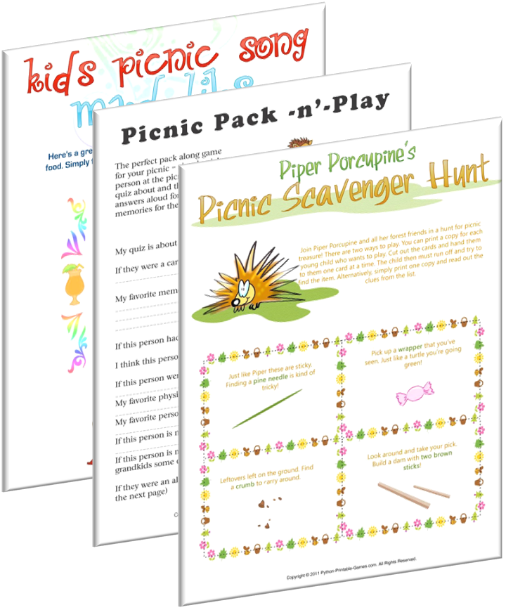 Picnic games for all ages, just print and play