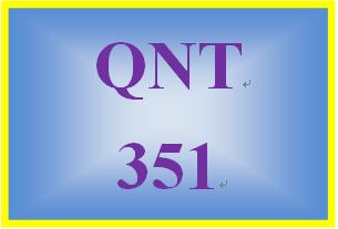 QNT 351 Week 4 Two Population Means Worksheet