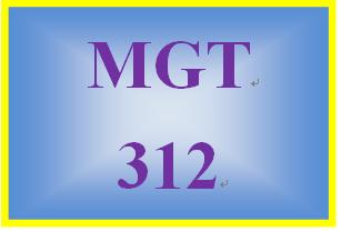 MGT 312 Week 1 Organizational Behavior in the Workplace