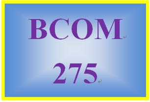 BCOM 275 Week 1 Assignment 1.1