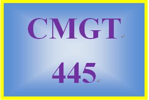 CMGT 445 Week 4 Individual: Implementation Plan Development