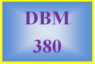 DBM 380 Week 1 Learning Team Charter