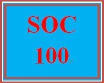 SOC 100 Week 2 Socialization and Social Structure Worksheet