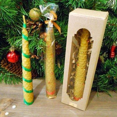 Свеча новогодняя из натуральной вощины,