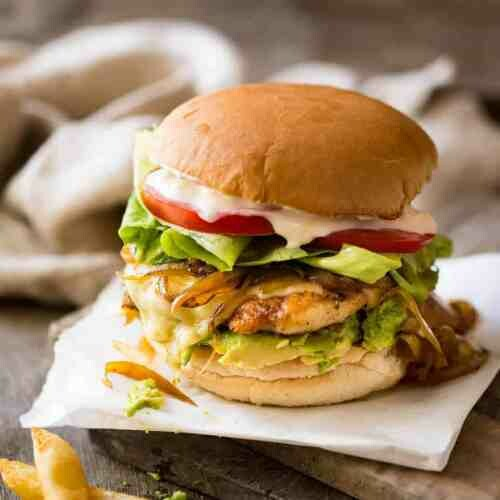 Ploughboy Spiced Buttermilk CHICKEN BURGER Smoked paprika mayo, toasted Waterford Blaa served with chips (allergens TBC)​
