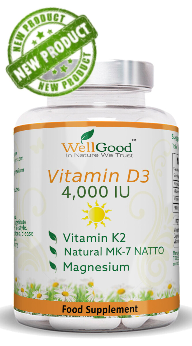 Natural Formula - Vitamin D 4000 IU with Vitamin K as NATTO  Complex *Immune System Support   2 Months Supply