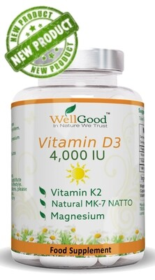 Natural Formula - Vitamin D 4000 IU with Vitamin K as NATTO  Complex *Immune System Support | 2 Months Supply