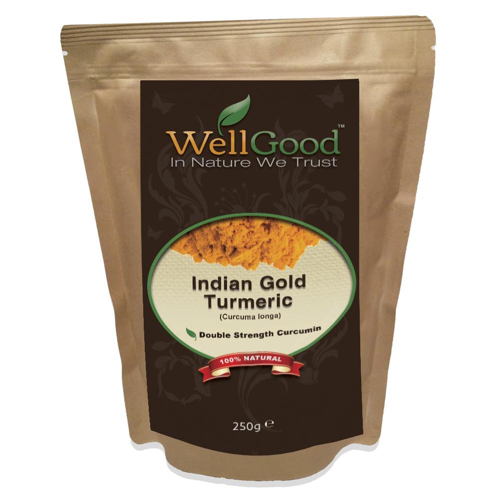 Organic Indian Gold Turmeric Root Raw Powder - Double Strength Curcumin 1kg/250g