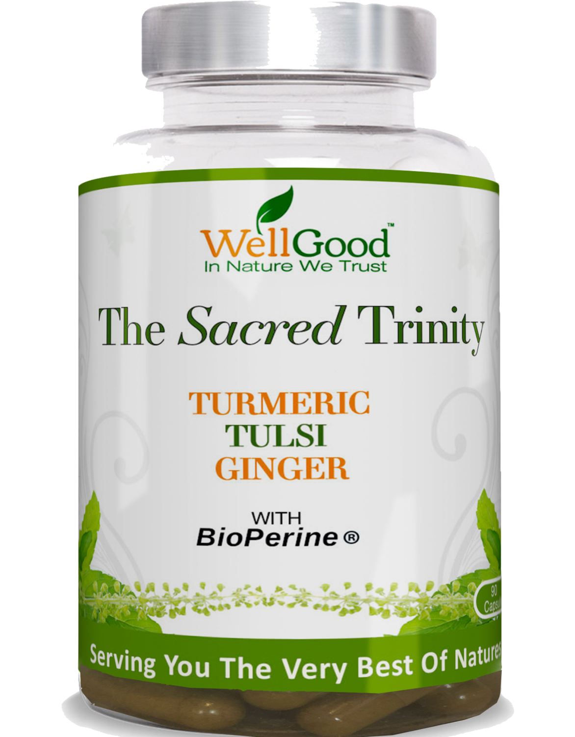 The Sacred Trinity - Turmeric (curcumin), Holy Basil/Tulsi, Ginger with black pepper extract (Piperine) Bioperine