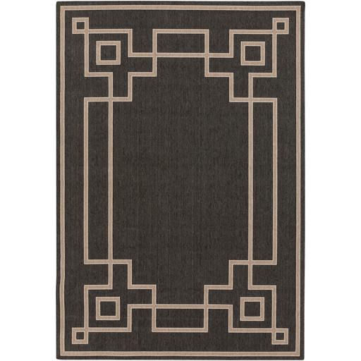 Alfresco Indoor/Outdoor Rug   Black and Camel   8 Sizes