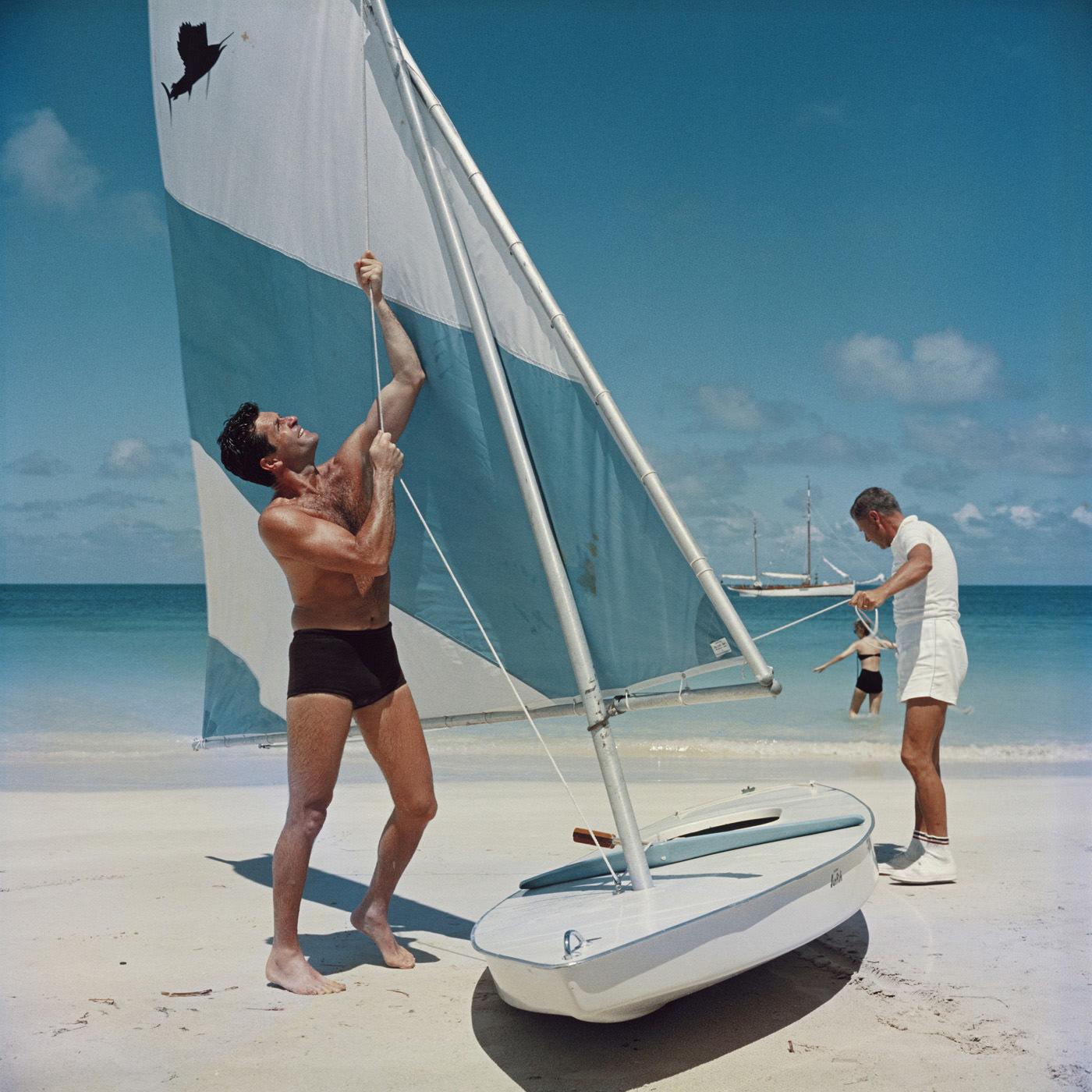 "Slim Aarons ""Boating in Antigua"" Wall Art   Jonathan Adler"