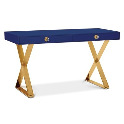 Channing Desk | Navy with Brass