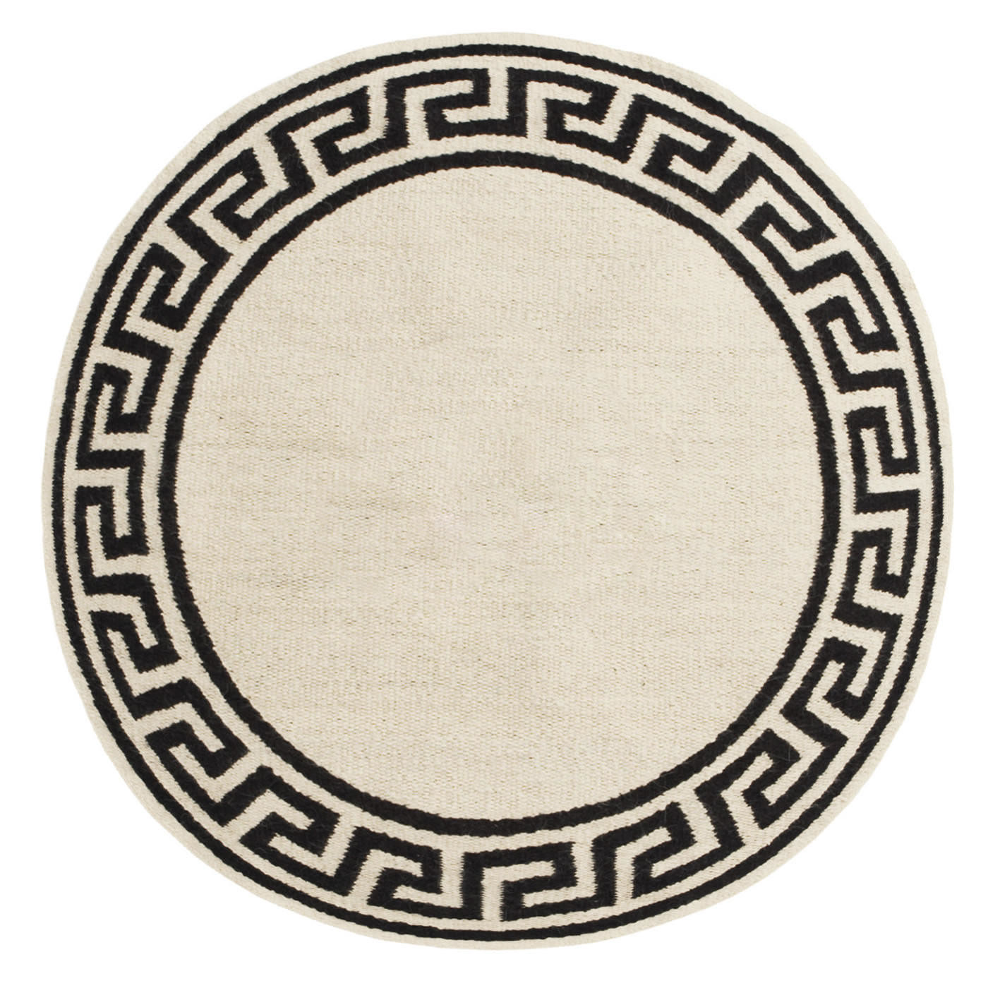Round Greek Key Border Reversible  Rug | 2 Sizes
