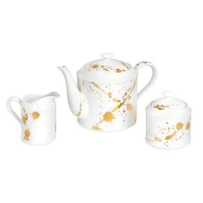 Jonathan Adler White and Gold Teapot Set