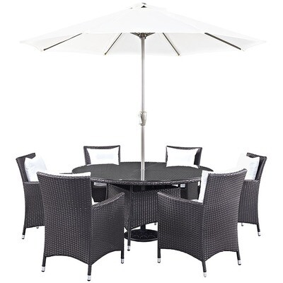Hinsdale Patio 8 Piece Round Dining Set with Umbrella