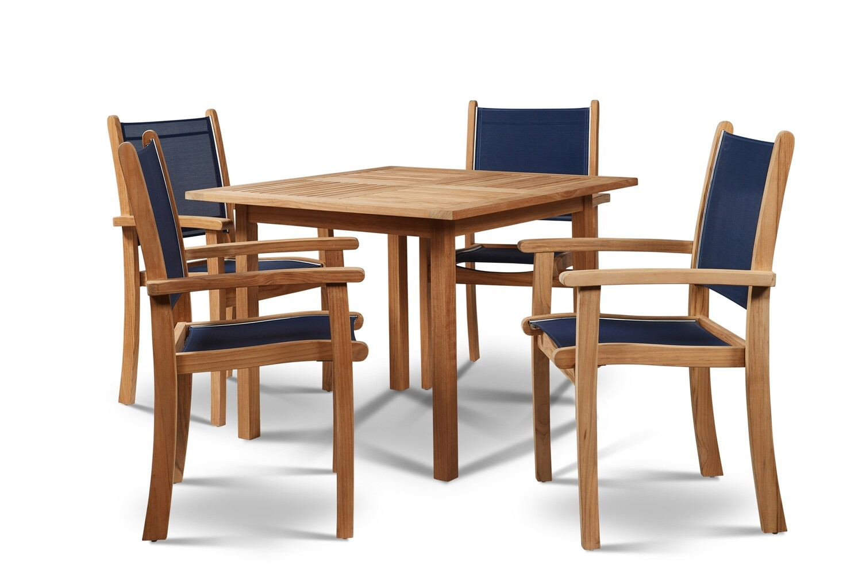 "Pearl  35""  Teak Dining Set | Blue or Taupe"