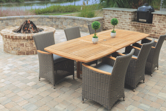 Teak Extendable Dining Table Set with 6 Chairs