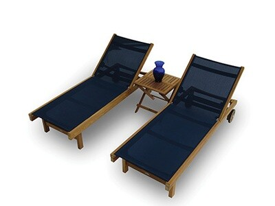 Teak Outdoor 3 Piece Sling Chaise Set