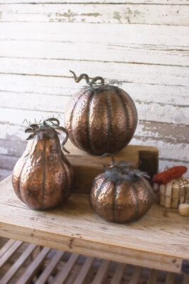 Metal Pumpkins with Copper Finish | Set of 3