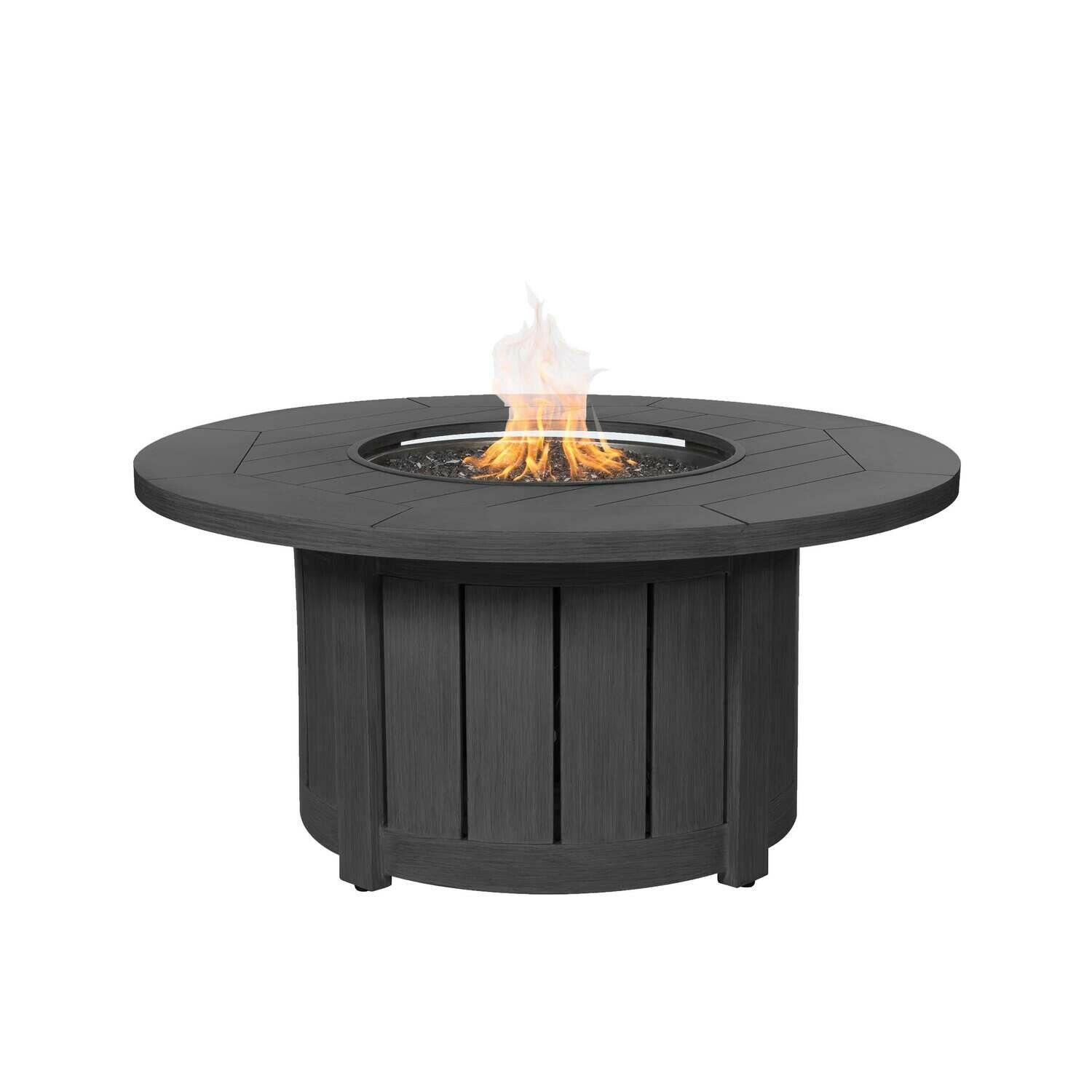"""Aluminum 50"""" Round Fire Pit Table - Smoke"""
