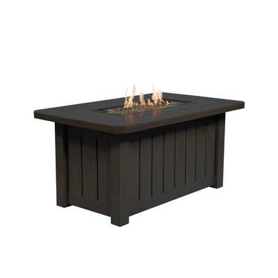 Aluminum Rectangular Fire Pit Table - Chestnut