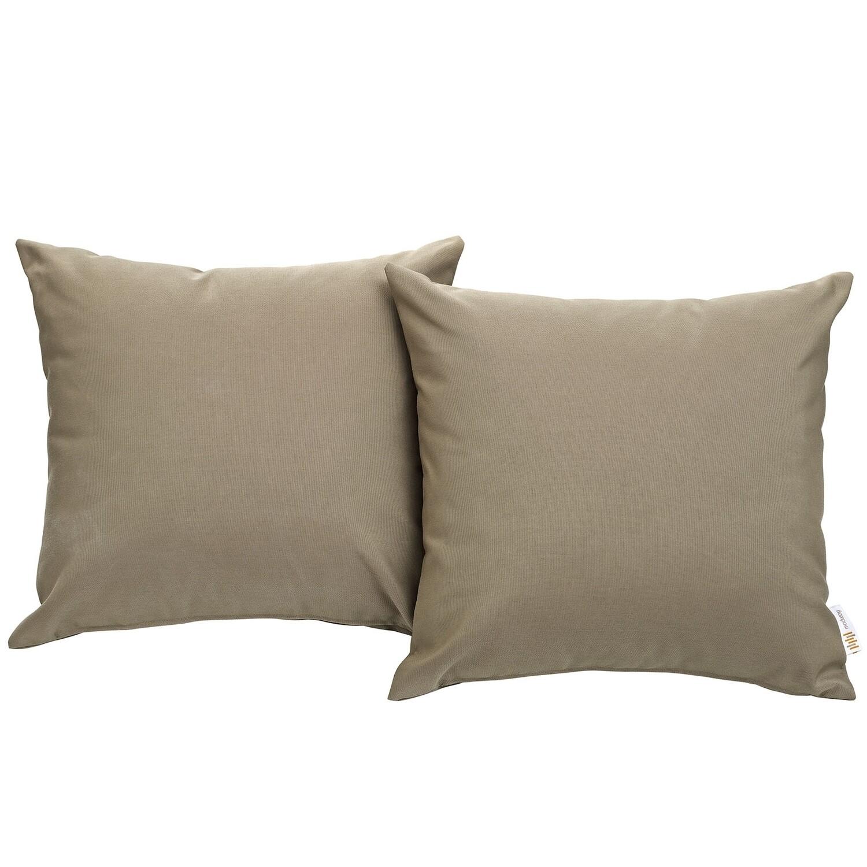 "Hinsdale Patio 2 Piece Pillow Set  17"" x 17"" in Mocha"