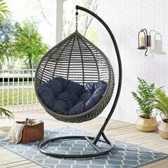 Moondrop Swing Lounge Chair   Gray Wicker   4 Colors